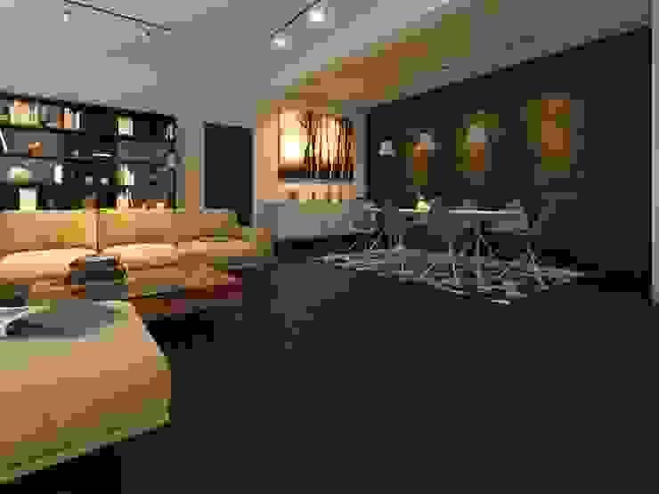 Sala con piso estilo madera Salas de estilo rústico de Interceramic MX Rústico Cerámico