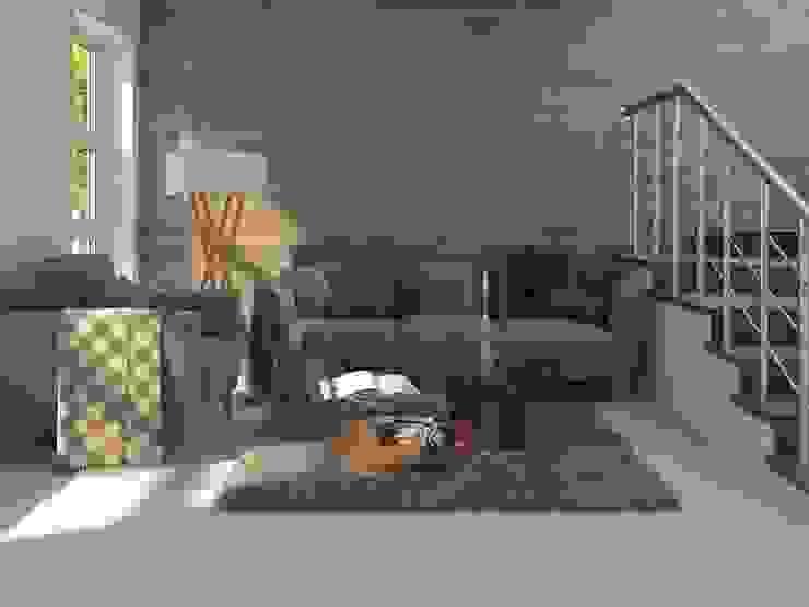 Sala con piso y muro estilo madera Salas de estilo rústico de Interceramic MX Rústico Cerámico