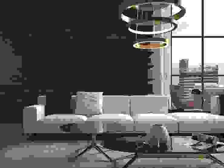 Sala con muro estilo madera Salas de estilo rústico de Interceramic MX Rústico Cerámico