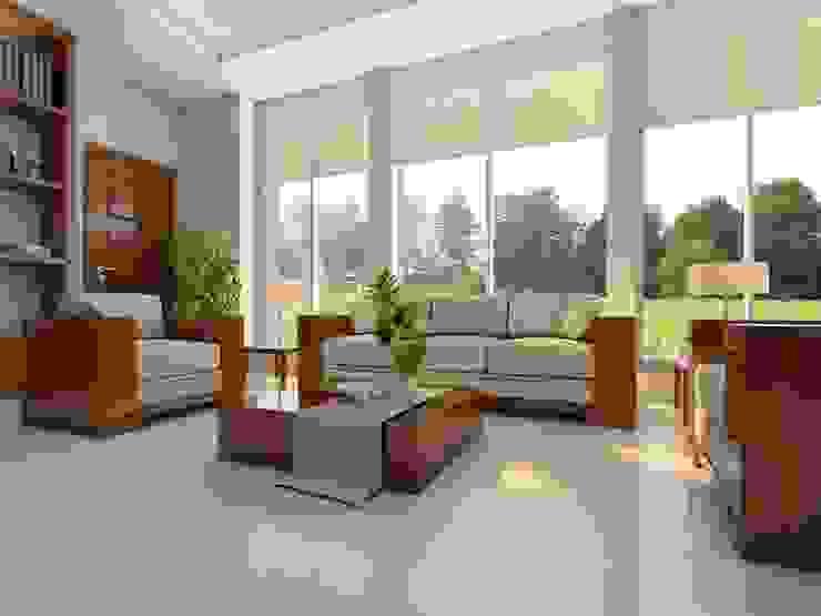 Sala con piso estilo textil Salas de estilo rústico de Interceramic MX Rústico Cerámico