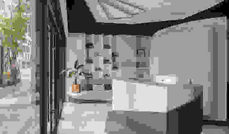 大理石牆紋讓純白多些點綴: 不拘一格  by 漢玥室內設計, 隨意取材風