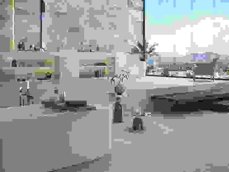 Baño estilo spa con tonos grises: Baños de estilo  por Interceramic MX, Moderno Cerámico
