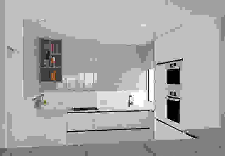 arQmonia estudio, Arquitectos de interior, Asturias 置入式廚房 White