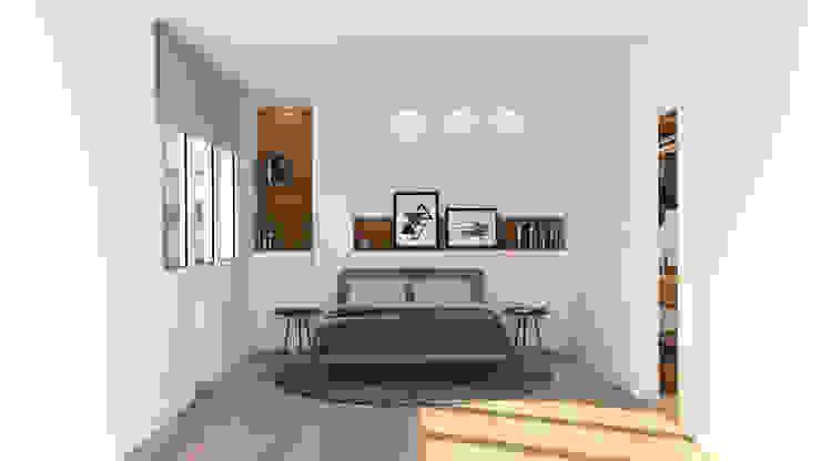 Dormitorio principal. Zona cama. Dormitorios de estilo moderno de arQmonia estudio, Arquitectos de interior, Asturias Moderno