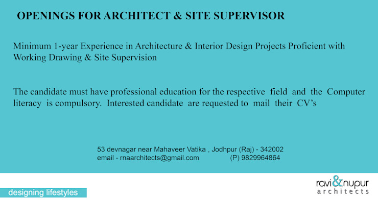 Job Openings For Architects & Site Supervisor by RAVI - NUPUR ARCHITECTS Modern Stone