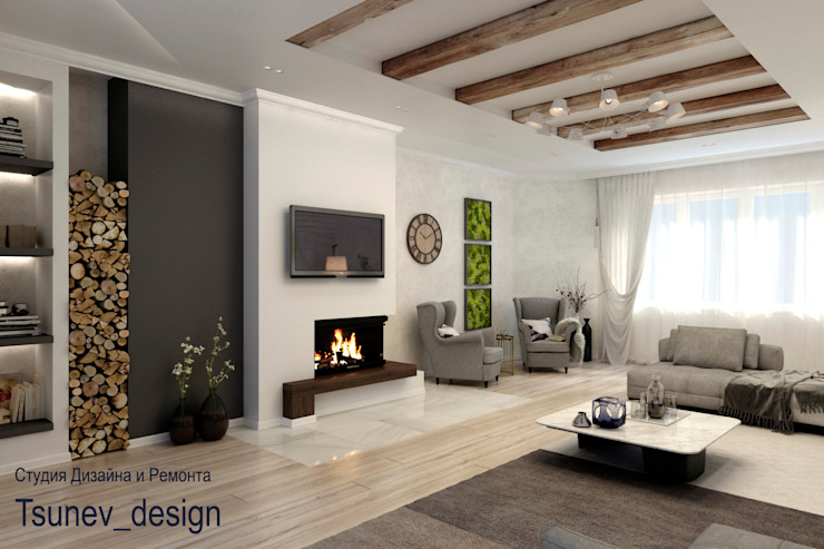 Цунёв_Дизайн. Студия интерьерных решений. Salas de estilo minimalista