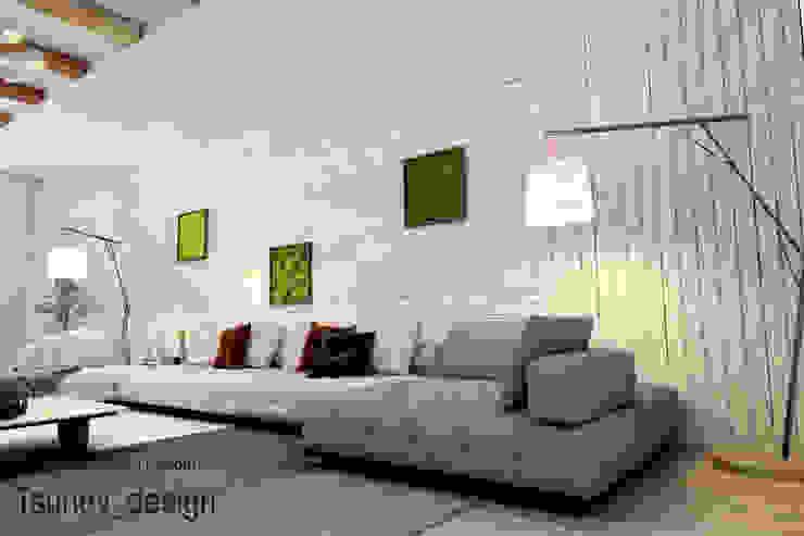 ห้องนั่งเล่น โดย Цунёв_Дизайн. Студия интерьерных решений., มินิมัล