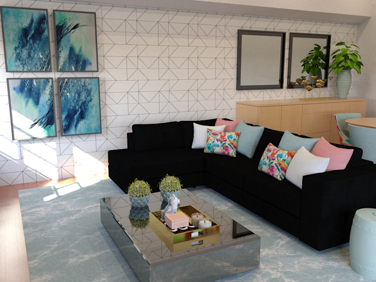 Proposta para sala de estar - imagem 3D por Palma Interiores