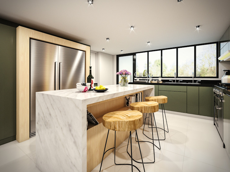 PAR Arquitectos Built-in kitchens Granite Grey