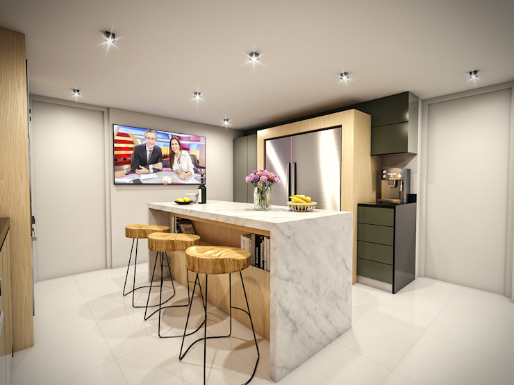 PAR Arquitectos Built-in kitchens Quartz Grey