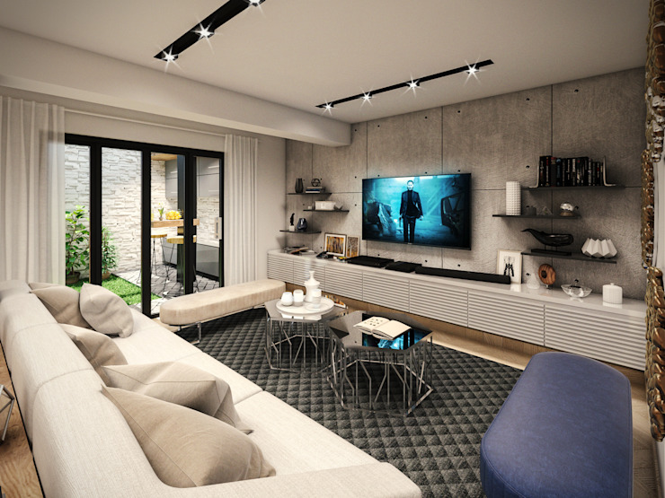 PAR Arquitectos Living room Concrete Grey