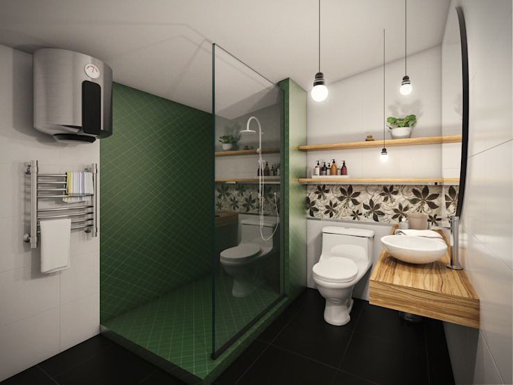 PAR Arquitectos Modern style bathrooms Ceramic Beige