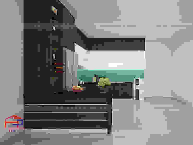 Hình ảnh thiết kế 3D tủ bếp gỗ melamine kèm bàn đảo nhà anh Cường - Hà Đông: hiện đại  by Nội thất Hpro, Hiện đại