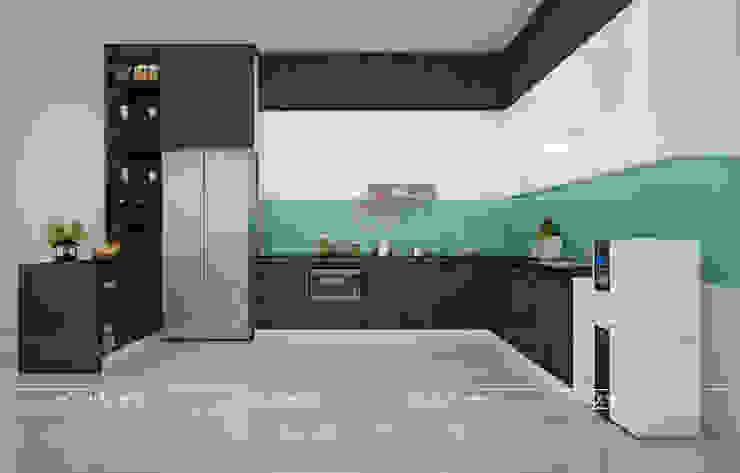 Hình ảnh thiết kế 3D mẫu tủ bếp gỗ MDF lõi xanh phủ melamine nhà anh Cường - Hà Đông: hiện đại  by Nội thất Hpro, Hiện đại