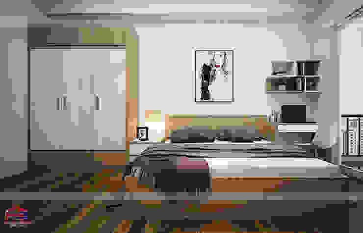 Hình ảnh thiết kế 3D phòng ngủ master nhà chị Lâm Anh - Xuân La: hiện đại  by Nội thất Hpro, Hiện đại
