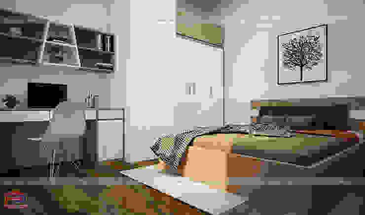 Ảnh thiết kế 3D nội thất không gian phòng ngủ gỗ melamine cho bé nhà chị Lâm Anh - Xuân La: hiện đại  by Nội thất Hpro, Hiện đại