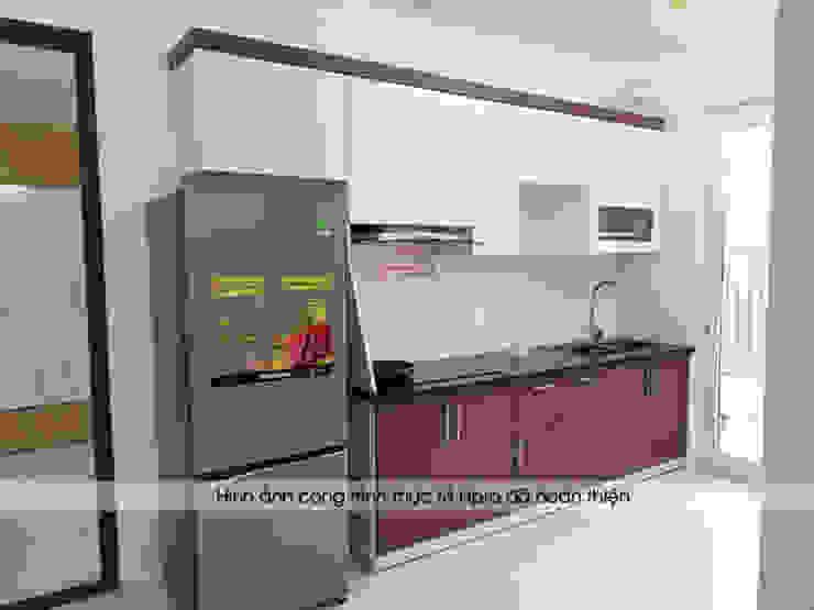 Hình ảnh thực tế bộ tủ bếp laminate nhà chị Lâm Anh - Xuân La: hiện đại  by Nội thất Hpro, Hiện đại