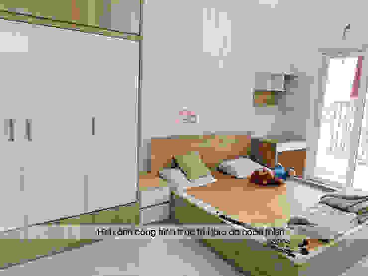 Hình ảnh thực tế không gian nội thất phòng ngủ master gỗ melamine nhà chị Lâm Anh - Xuân La: hiện đại  by Nội thất Hpro, Hiện đại