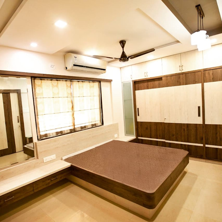 Bramha exubrance 2bhk:  Bedroom by Envoy Interiors Pvt ltd,