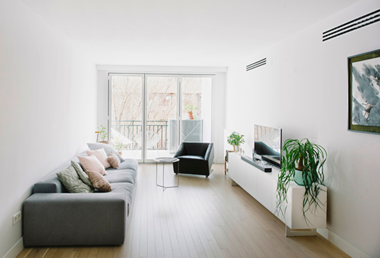 Salón con terraza Salas de estilo moderno de nimú equipo de diseño Moderno Mármol