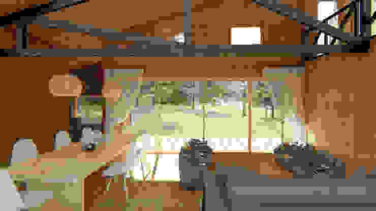 Diseño de Casa Rural en Coyhaique: Livings de estilo  por casa rural - Arquitectos en Coyhaique,