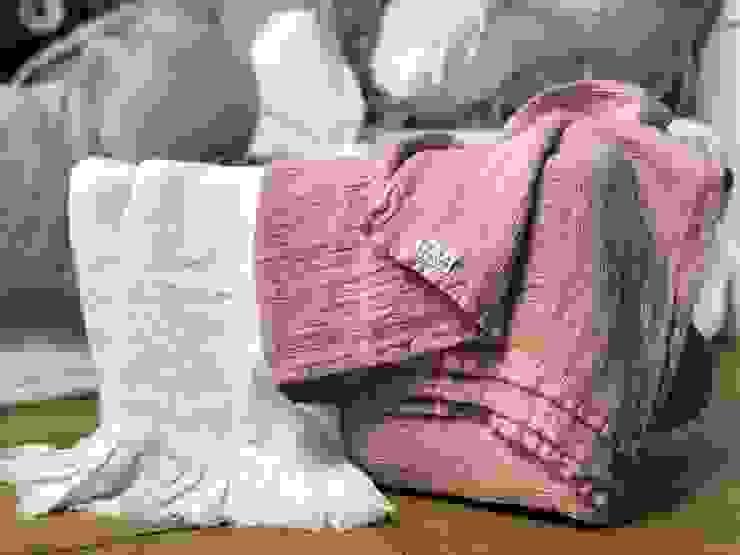 Waflowe lniane ręczniki rustykalne od NatureBed Rustykalny Len Różowy