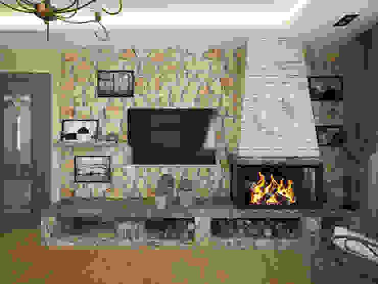 гостиная, каминная зона Гостиная в стиле модерн от lesadesign Модерн Камень