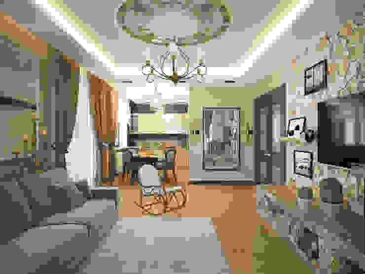 гостиная, объединенная с кухней Гостиная в стиле модерн от lesadesign Модерн Дерево Эффект древесины