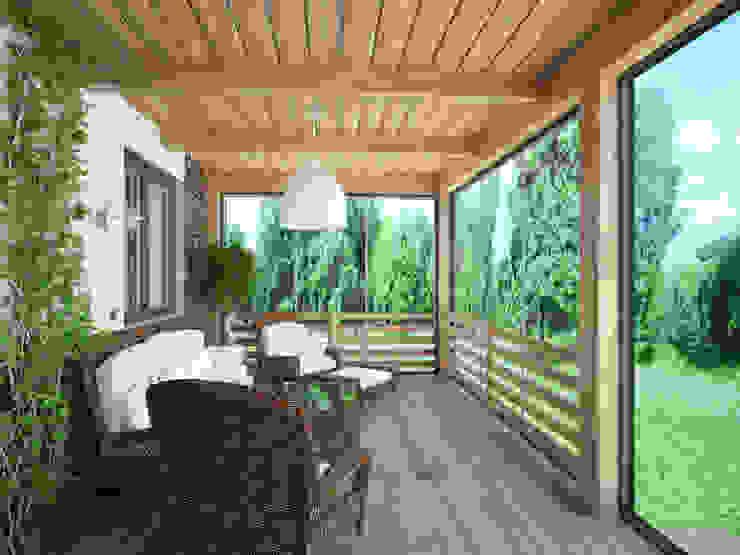 Загородный дом в г. Истра Балкон и терраса в стиле модерн от lesadesign Модерн Известняк