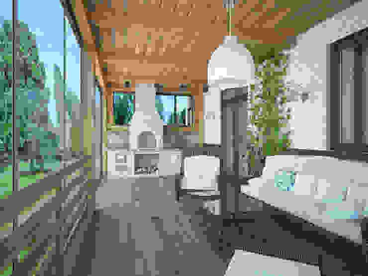 Загородный дом в г. Истра Балкон и терраса в стиле модерн от lesadesign Модерн Кирпичи