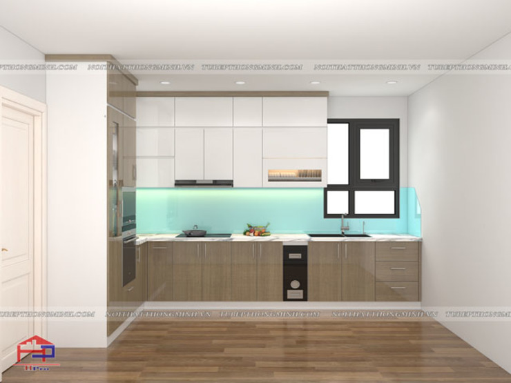 Hình ảnh thiết kế 3D bộ tủ bếp acrylic nhà anh Minh - Lê Trọng Tấn: hiện đại  by Nội thất Hpro, Hiện đại
