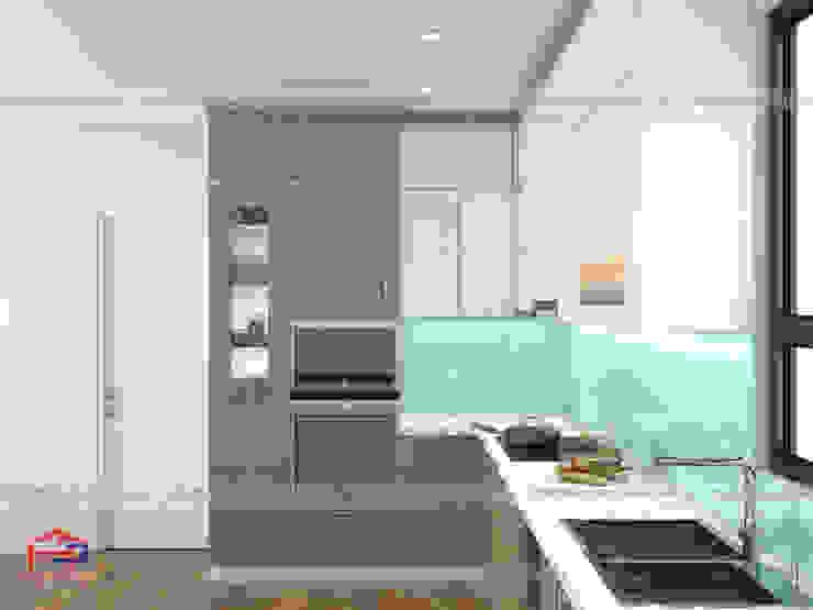 Hình ảnh thiết kế 3D bộ tủ bếp acrylic chữ L nhà anh Minh - Lê Trọng Tấn: hiện đại  by Nội thất Hpro, Hiện đại