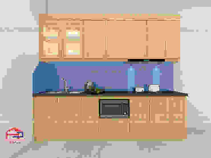 Hình ảnh thiết kế 3D bộ tủ bếp gỗ sồi nga nhà anh Long - Hồ Tùng Mậu: hiện đại  by Nội thất Hpro, Hiện đại
