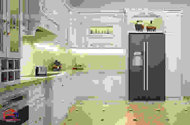 Hình ảnh thiết kế 3D mẫu tủ bếp tân cổ điển nhà anh Linh - Thanh Hóa: scandinavian  by Nội thất Hpro, Bắc Âu