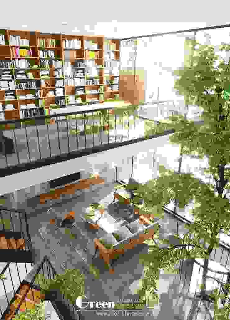 NHÀ PHỐ CAO BẰNG TRÀN NGẬP ÁNH SÁNG Phòng học/văn phòng phong cách hiện đại bởi Green Interior Hiện đại