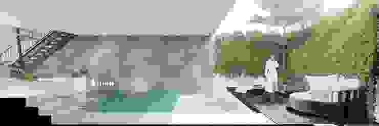 NHÀ PHỐ CAO BẰNG TRÀN NGẬP ÁNH SÁNG Hồ bơi phong cách hiện đại bởi Green Interior Hiện đại