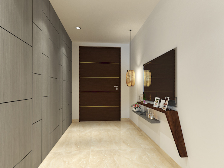 Apartment at DLF The Crest Modern corridor, hallway & stairs by The Workroom Modern