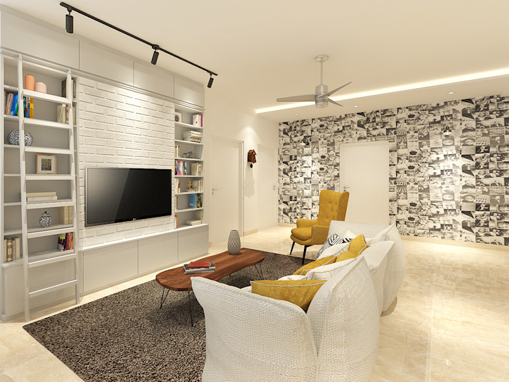 Apartment at DLF The Crest Modern media room by The Workroom Modern