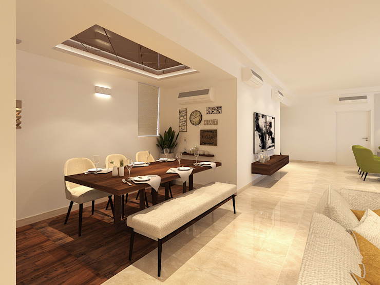 Apartment at DLF The Crest Modern dining room by The Workroom Modern