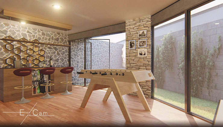 Cuarto de juegos en sótano EzCam Arquitectura Bodegas modernas