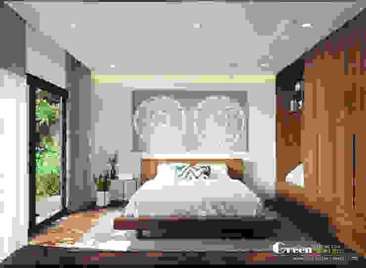 THIẾT KẾ BIỆT THỰ SÂN VƯỜN ECOPARK – THÁCH THỨC MỌI GIỚI HẠN Phòng ngủ phong cách hiện đại bởi Green Interior Hiện đại