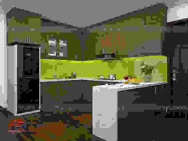 Hình ảnh thiết kế 3D mẫu tủ bếp gỗ sồi mỹ nhà anh Đại - An Bình City: hiện đại  by Nội thất Hpro, Hiện đại