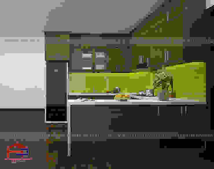 Hình ảnh thiết kế 3D bộ tủ bếp gỗ sồi mỹ kèm bàn đảo nhà anh Đại - An Bình City: hiện đại  by Nội thất Hpro, Hiện đại