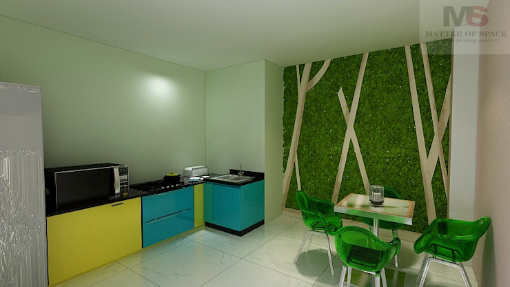 PANTRY AREA Modern office buildings by Matter Of Space Pvt. Ltd. Modern Wood-Plastic Composite