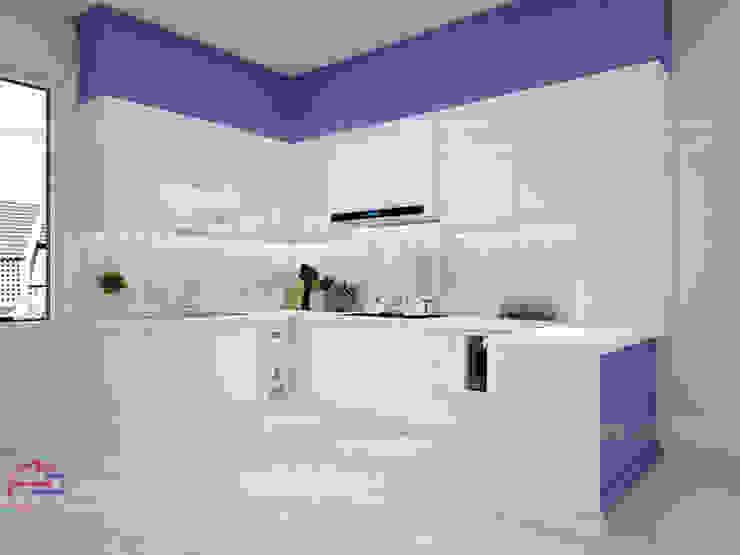 Hình ảnh thiết kế 3D mẫu tủ bếp acrylic kết hợp MDF lõi xanh sơn bệt nhà anh Đạt - Đông Anh: scandinavian  by Nội thất Hpro, Bắc Âu