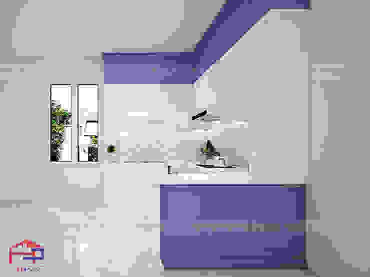 Hình ảnh thiết kế 3D mẫu tủ bếp MDF lõi xanh phủ acrylic kết hợp sơn bệt nhà anh Đạt - Đông Anh: scandinavian  by Nội thất Hpro, Bắc Âu