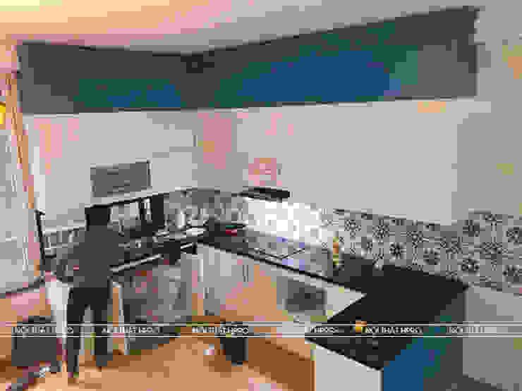Hình ảnh thực tế Hpro thi công công trình tủ bếp tân cổ điển tại nhà anh Đạt - Đông Anh: scandinavian  by Nội thất Hpro, Bắc Âu