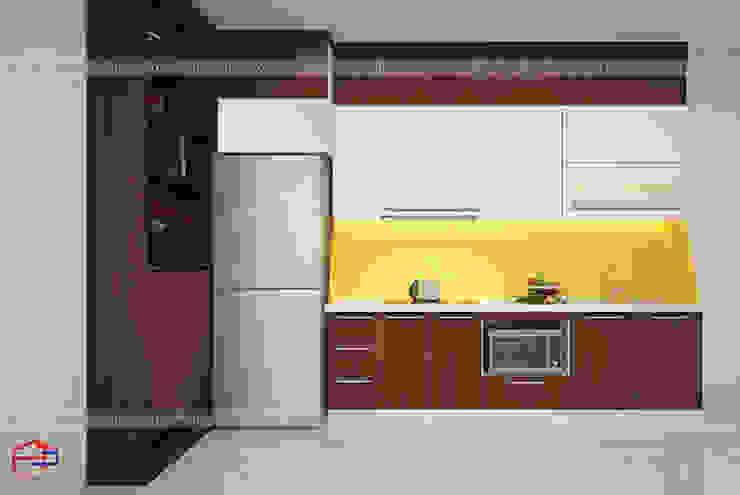 Hình ảnh thiết kế 3D mẫu tủ bếp laminate nhà anh Trung - Nguyễn Chánh: hiện đại  by Nội thất Hpro, Hiện đại
