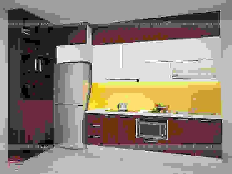 Hình ảnh thiết kế 3D bộ tủ bếp laminate và tủ đựng giày đa năng nhà anh Trung - Nguyễn Chánh: hiện đại  by Nội thất Hpro, Hiện đại