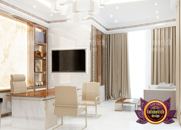 Elegant Modern Home Office Design by Luxury Antonovich Design